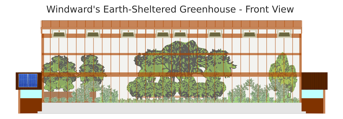 front view of the greenhouse exterior including the how the vegetation inside the building will likely look when more mature this image does not include - Earth Sheltered Greenhouse Plans